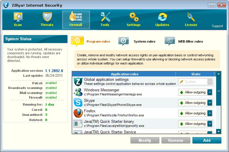 Zillya! Internet Security full screenshot
